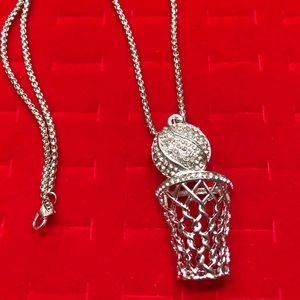 Other - NEW•Men's basketball & hoop silver pendant + chain